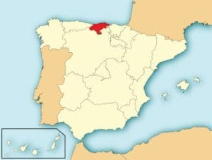 Kaart Spanje en regio Cantabrië