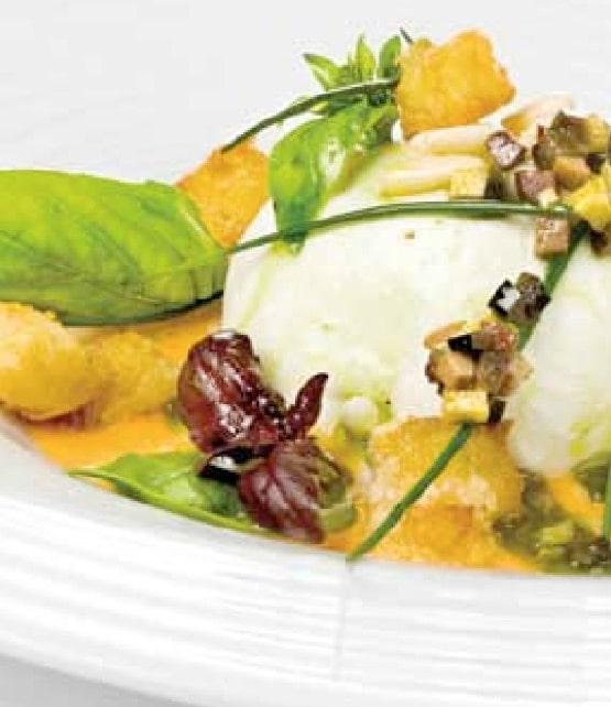 Verse  mozzarella met salmorejo, olijven en basilicum