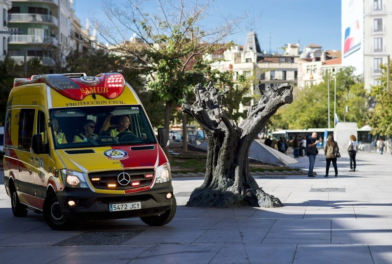 Ambulance in Spanje- ongeluk
