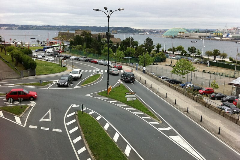 verkeer Spanje La Coruña auto's