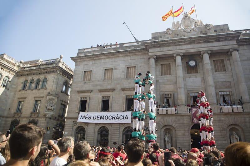 Castellers tijdens La Merce