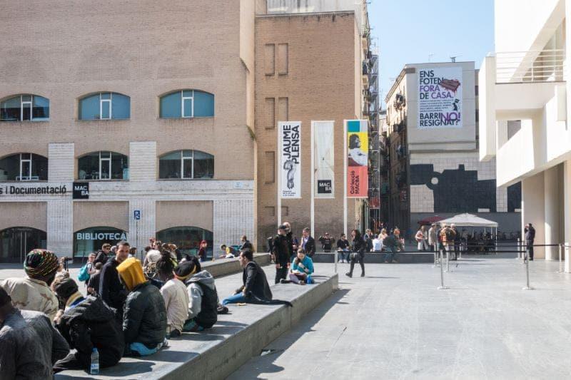 Mensen, buiten, museum