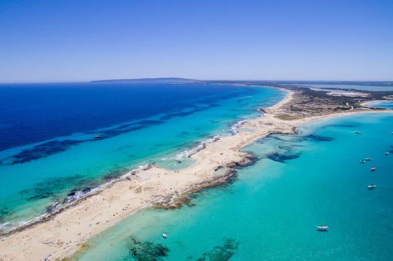 Blauwe zee Formentera