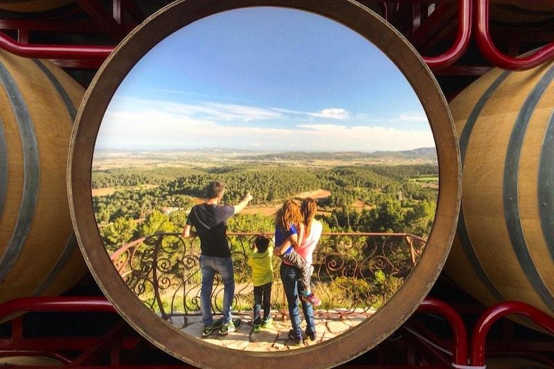 Een gezin met uitzicht over een wijnveld