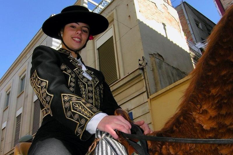 lachend meisje die op een paard zit
